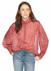 C/MEO COLLECTIVE Women's Significant Long Sleeve Floral Button Down Blouse  S