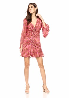 C/Meo Collective Women's Significant Long Sleeve Lace Up Ruffle Mini Dress  M