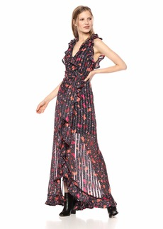 C/Meo Collective Women's Significant Sleeveless Floral Wrap Ruffle Maxi Dress Gown  S