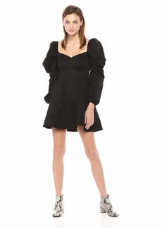 C/Meo Collective Women's Silhouette Long Puff Sleeve Flared Mini Dress  L