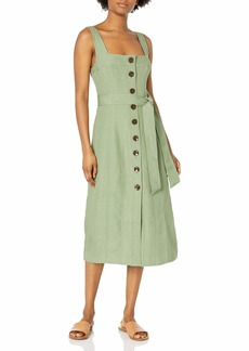 C/Meo Collective Women's Sleeveless A-Line Button Front with Tie Belt Waist Occurrence Midi Dress  L