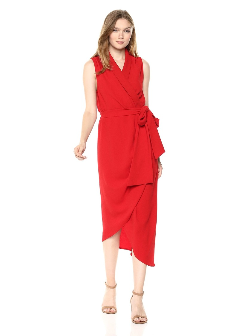 C/MEO COLLECTIVE Women's Sleeveless MIDI Dress W Gathered WRAP Front and Side TIE red S