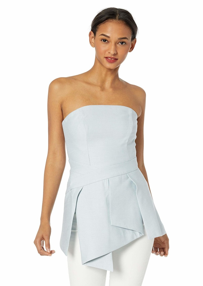 C/Meo Collective Women's Slow Motion Strapless Peplum Bustier Top  xs
