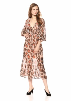 C/Meo Collective Women's Sweet Thing Long Sleeve Button Front Midi Top or Dress  M
