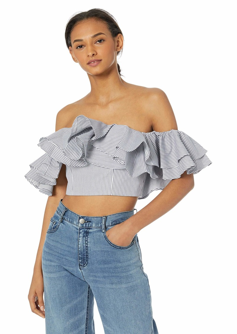 C/MEO COLLECTIVE Women's Together Again Strapless Off The Shoulder Ruffle Top  s