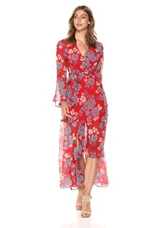 C/Meo Collective Women's Unending Long Sleeve Wrap Dress Gown red Floral L