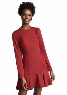 C/Meo Collective Women's Visceral Longsleeve Pleated Ruffle Mini Dress  L