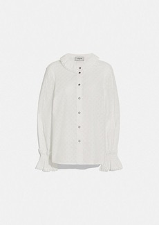 Coach long sleeve broderie anglaise top