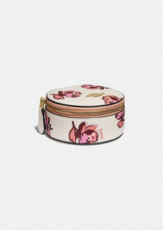 Coach round jewelry case with floral print