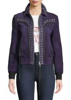 Coach Bandana Studded Zip-Front Suede Jacket