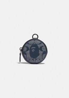bape x coach coin case in signature chambray
