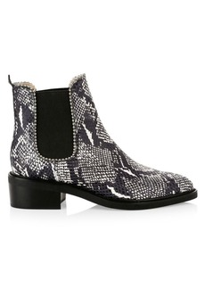 Coach Bowery Ball-Trim Snakeskin-Embossed Leather Chelsea Boots