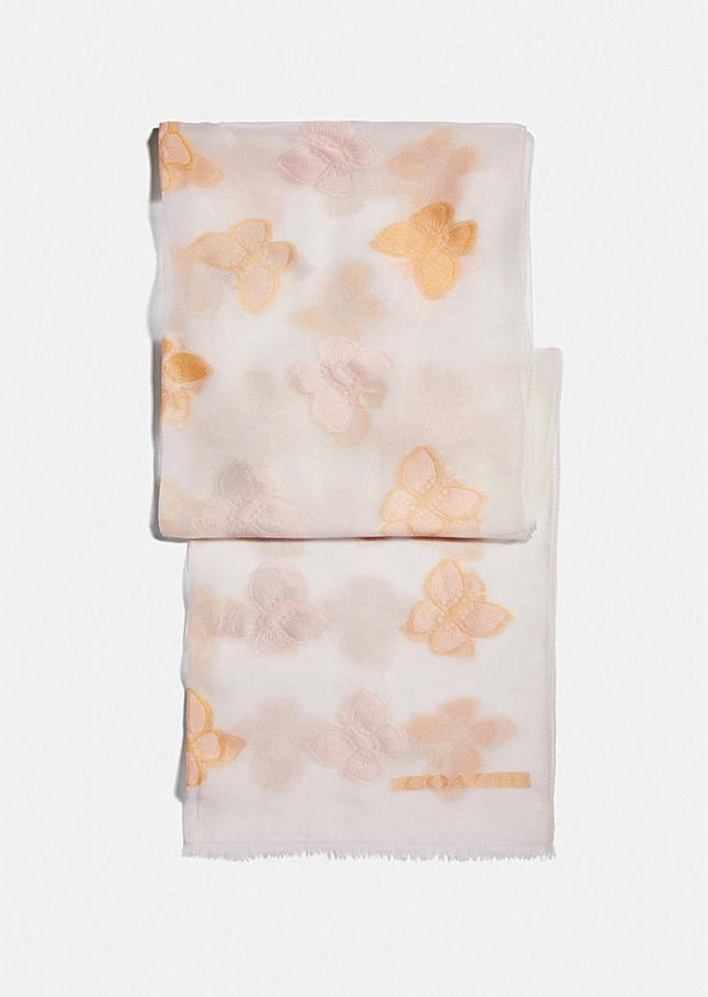 Coach butterfly print silk oblong scarf