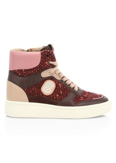 Coach C220 Tweed & Leather High-Top Sneakers