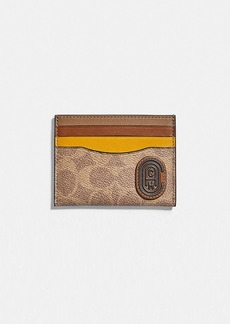 Coach card case in colorblock signature canvas with...