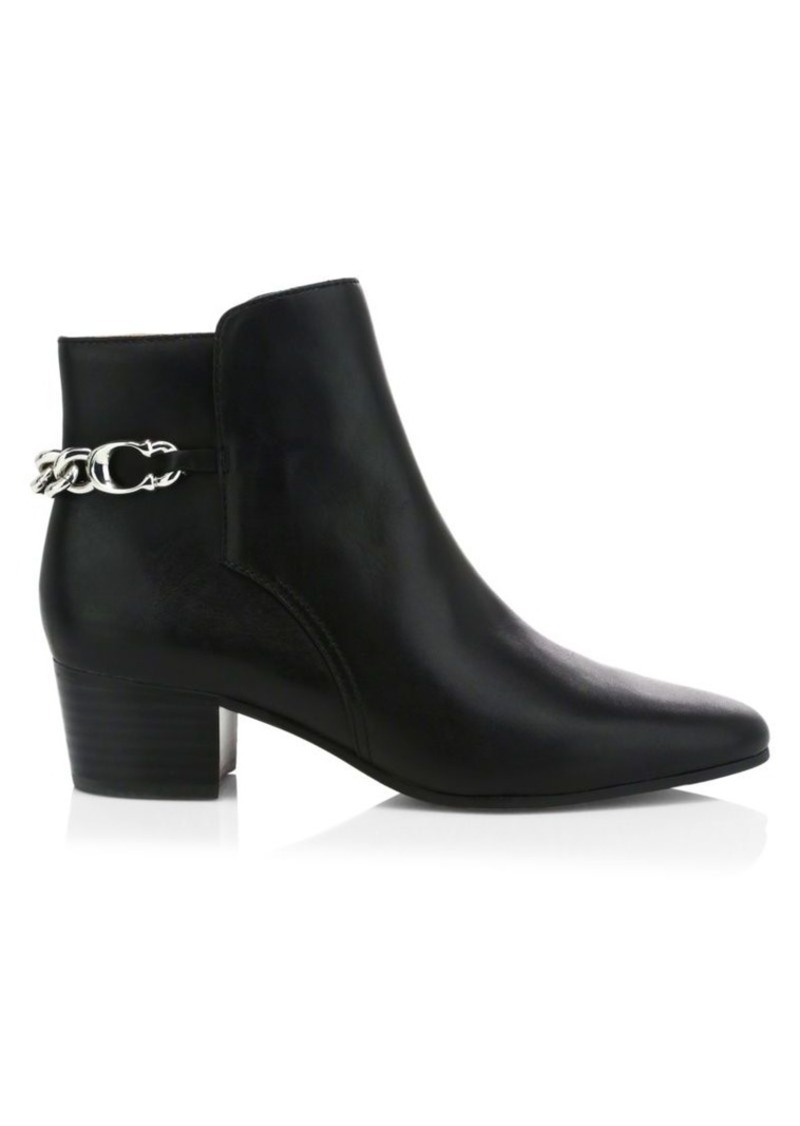 Coach Carissa C-Chain Leather Ankle Boots