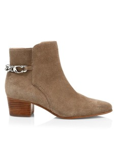 Coach Carissa C-Chain Suede Ankle Boots