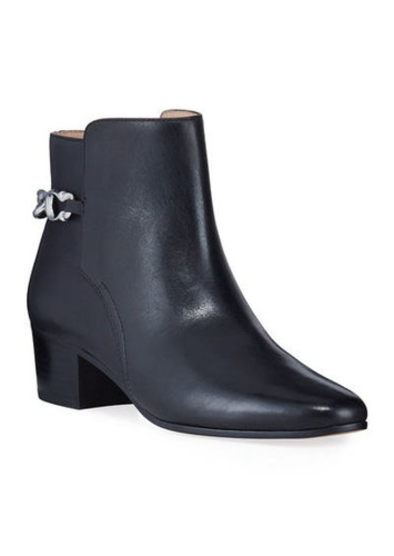 Coach Carissa Chain Leather Zip Booties