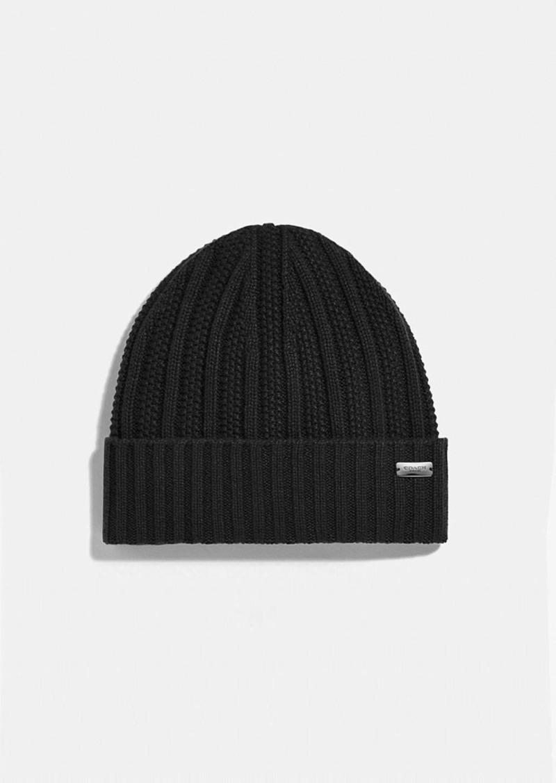 Coach cashmere seed stitch knit hat