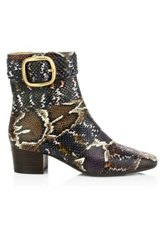 Coach Cassandra Panel Python-Embossed Leather Ankle Boots