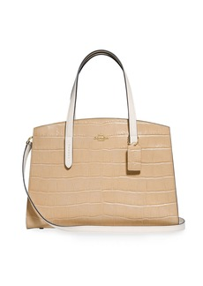 Coach Charlie Colorblock Croc-Embossed Leather Carryall Tote Bag