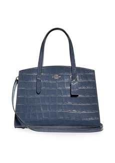 Coach Charlie Croc-Embossed Leather Carryall Tote Bag