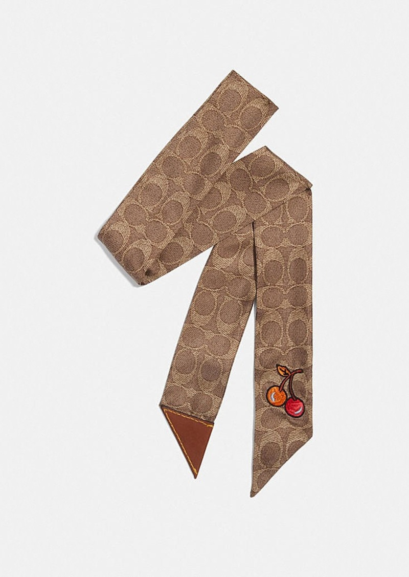 Coach cherry print silk skinny scarf with leather tab