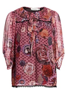 Coach 1941 Puff-Sleeve Silk Print Blouse