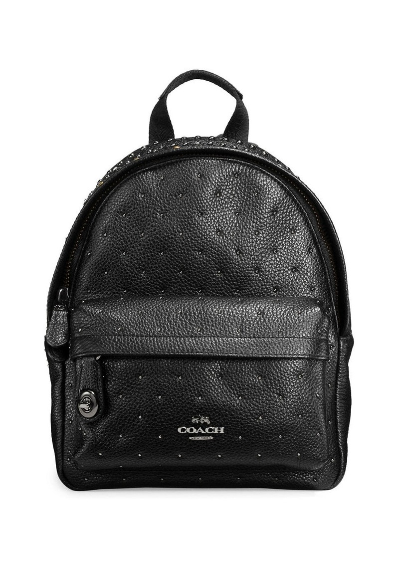 COACH Bandana Pebble Leather Rivets Mini Campus Backpack