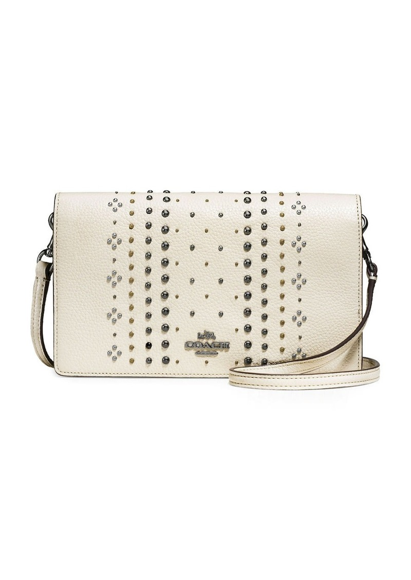 COACH Bandana Rivets Pebble Leather Foldover Crossbody Bag