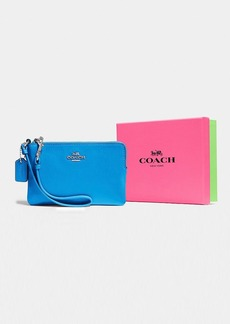 COACH BOXED CORNER ZIP WRISTLET IN SMOOTH LEATHER