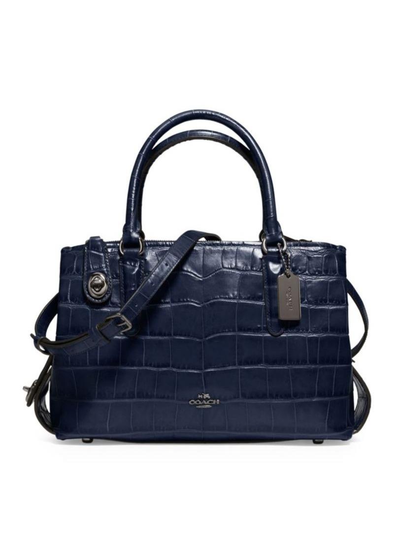 Coach COACH Brooklyn Crocodile-Embossed Leather Handbag