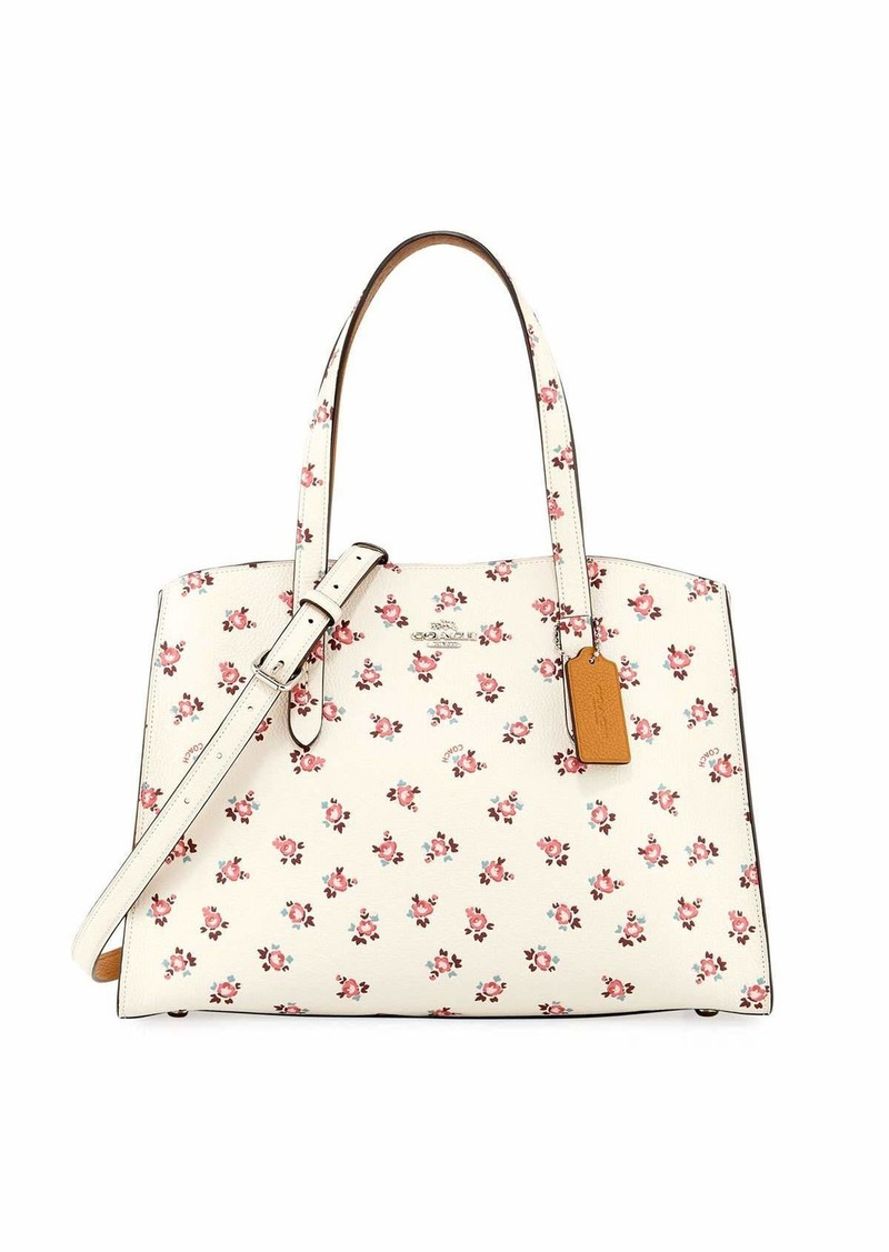 Coach Charlie Floral Bloom Leather Carryall Tote Bag  394e280c0c94e