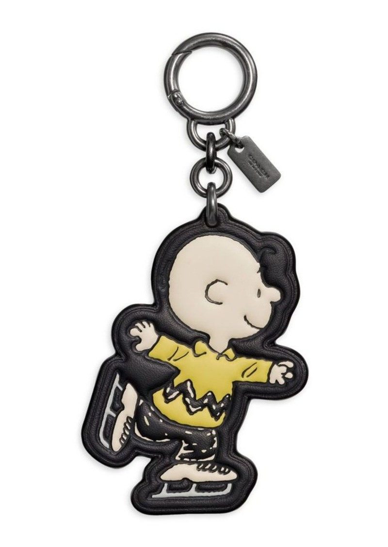 Coach Peanuts Collection Charlie Brown Leather Bag Charm