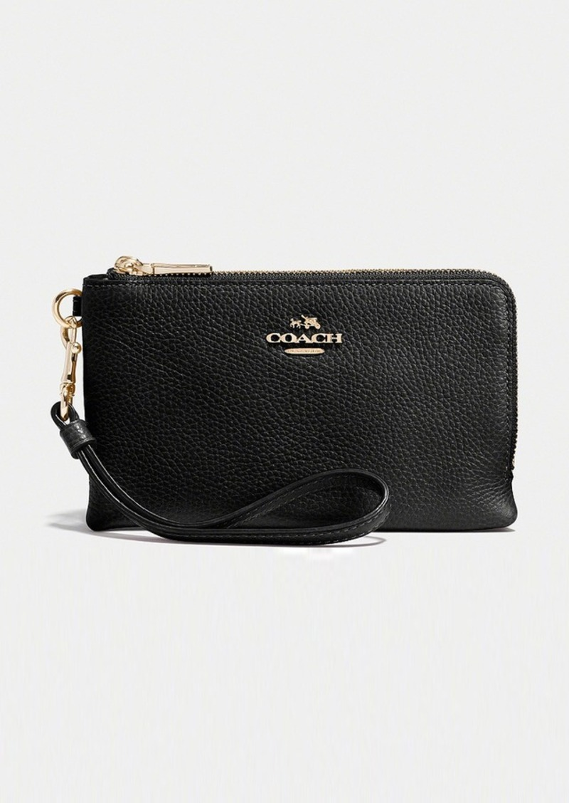 73ad3b29be67a Coach COACH DOUBLE CORNER ZIP WRISTLET IN POLISHED PEBBLE LEATHER ...