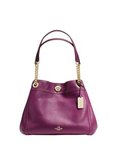 COACH Edie Turnlock Leather Shoulder Bag
