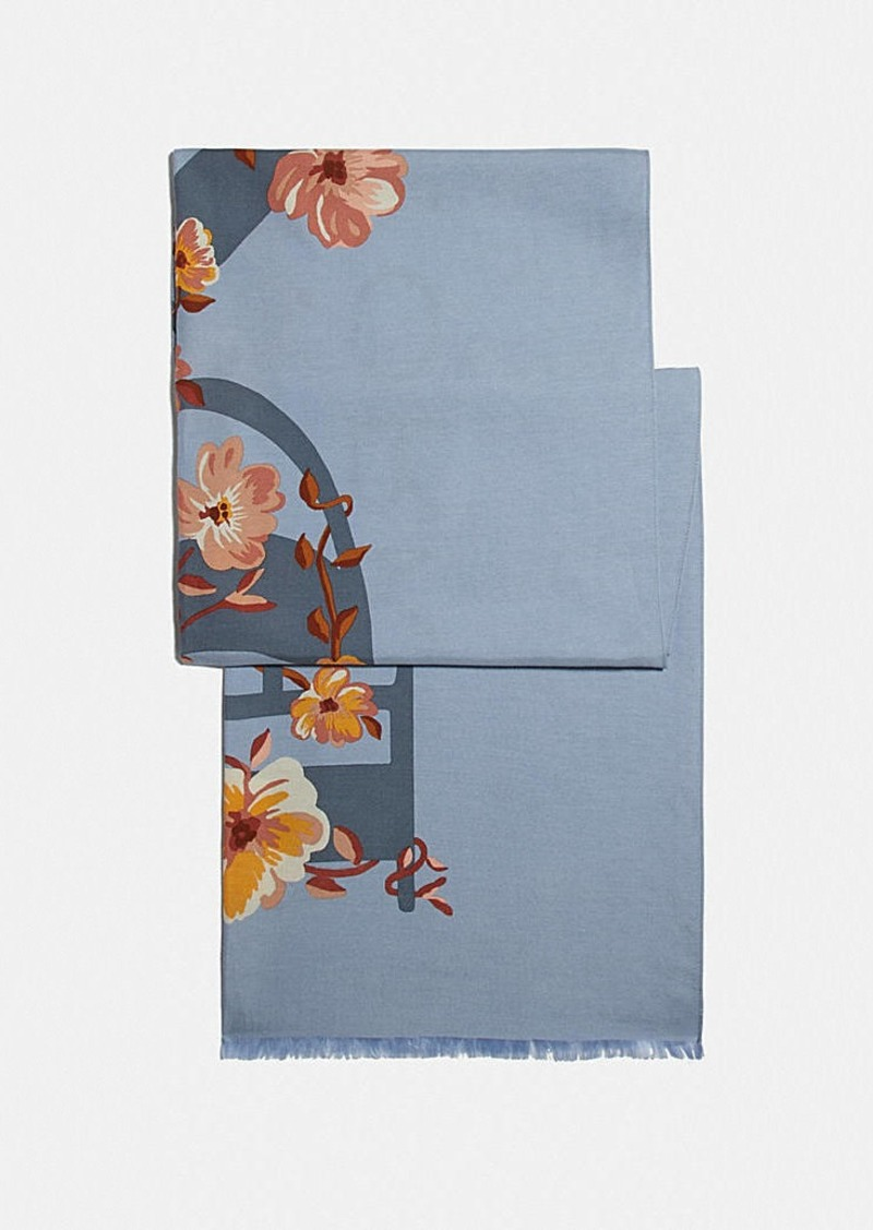 coach floral bow print oblong scarf
