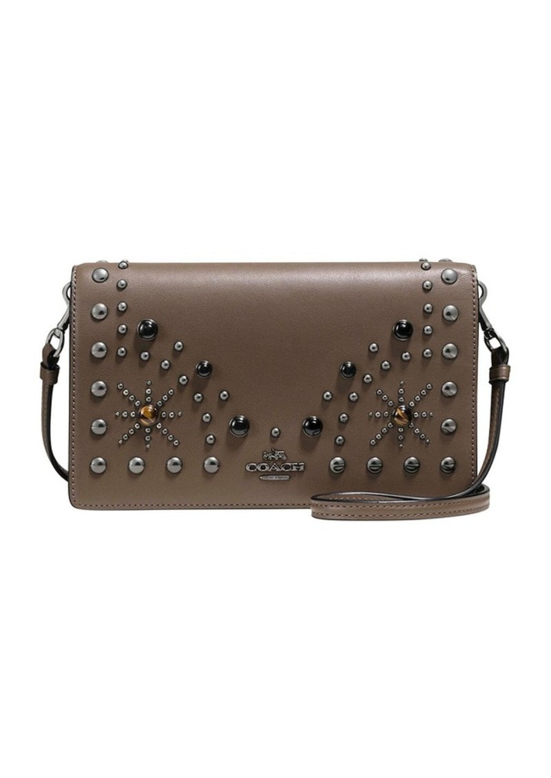 994c1f26225c COACH FOLDOVER CROSSBODY CLUTCH IN GLOVETANNED LEATHER WITH WESTERN RIVETS