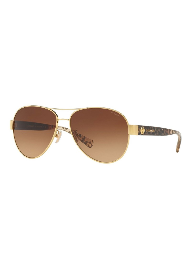 Coach Gradient Metal Aviator Sunglasses w/ Leopard-Print Acetate Arms