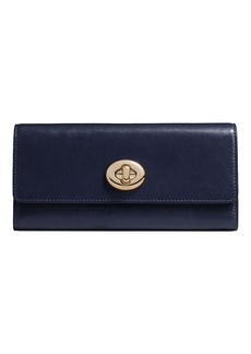 COACH Leather Turnlock Continental Wallet