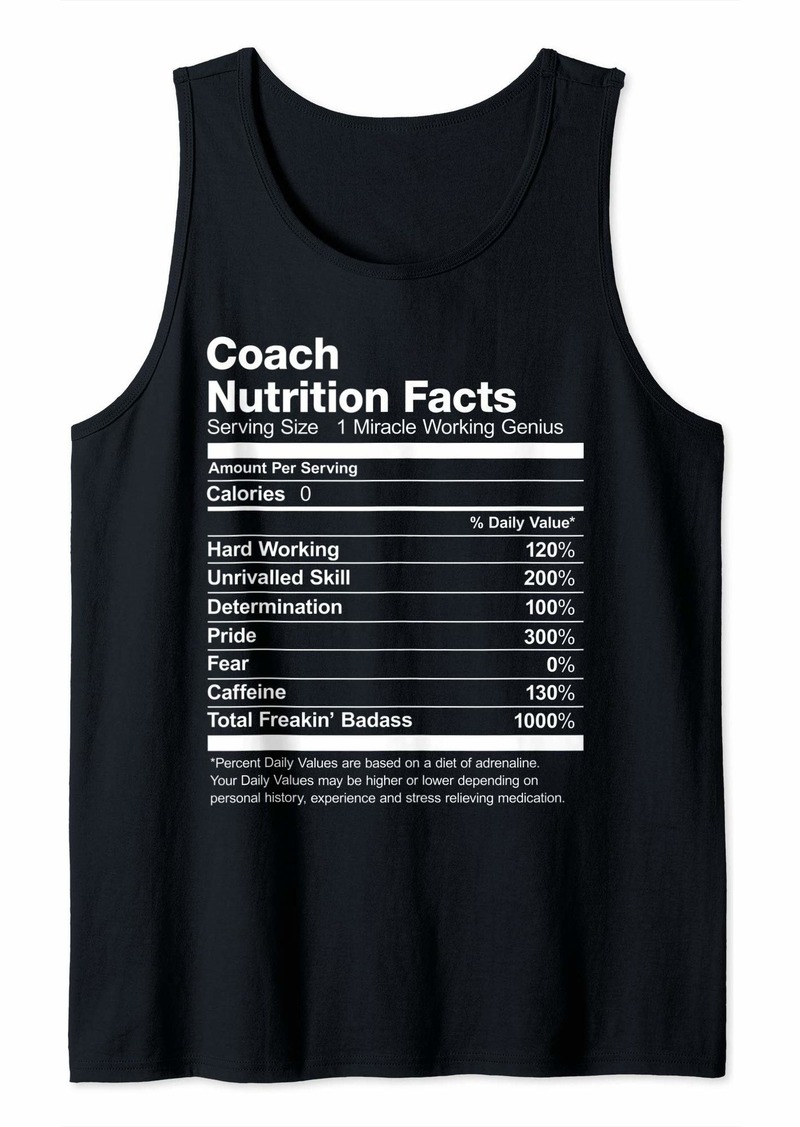 Coach Nutrition Facts Name Funny Tank Top