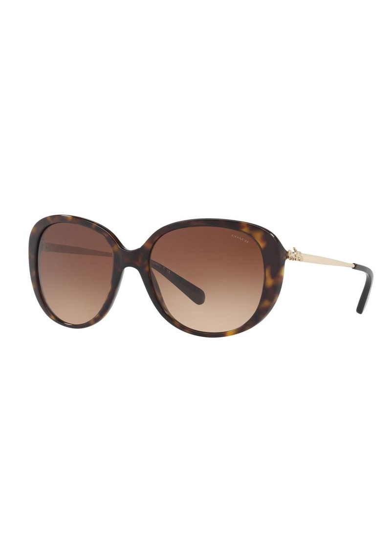 Coach Oval Acetate Sunglasses w/ 3D Stagecoach Detail