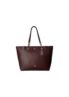 Coach Pebbled Turnlock Chain Tote
