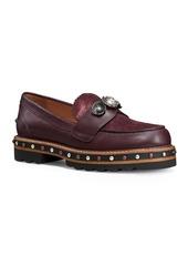 COACH Polished Leather Stud Loafers