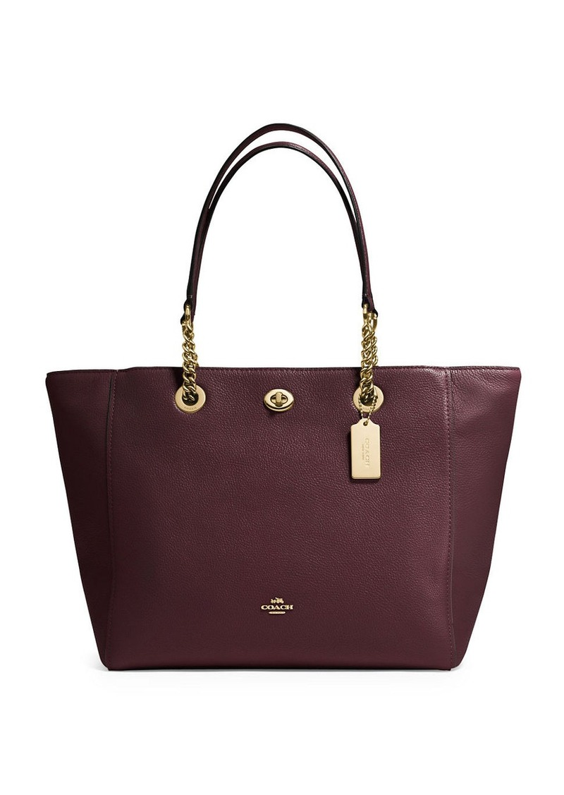 COACH Polished Pebble Leather Chain Tote