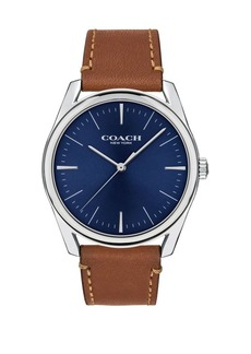 COACH Preston Stainless Steel and Leather-Strap Watch