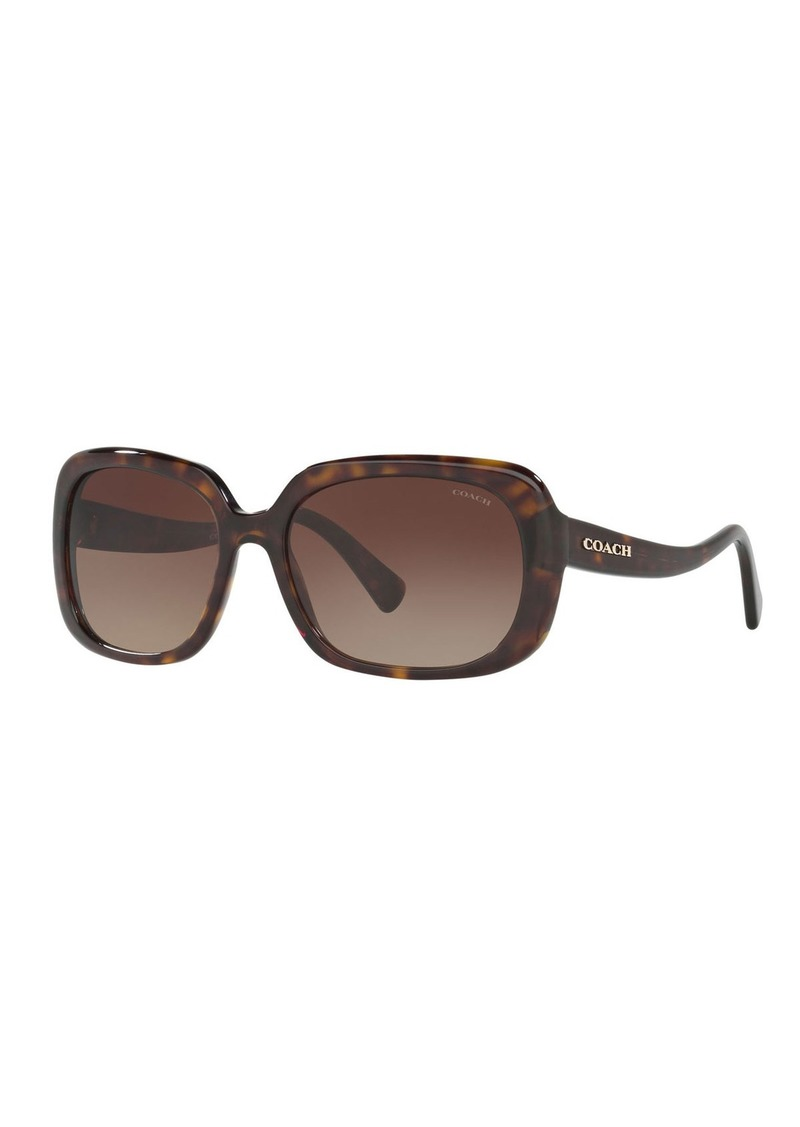 Coach Rectangle Acetate Sunglasses w/ Curved Arms