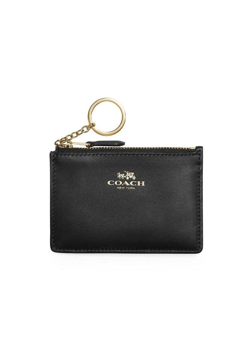 Coach COACH Mini Skinny Leather ID Wallet Keychain  9f6f78b291874
