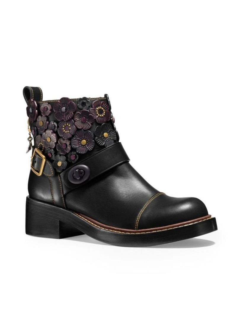 On Sale Today Coach Coach Tea Rose Embellishment Leather Moto Booties