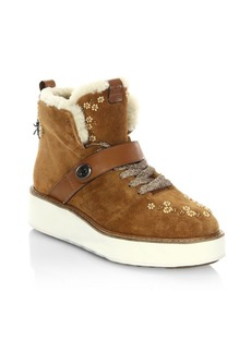 COACH Urban Hiker Beads Shearling-Lined Suede Wedge Boots